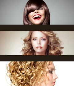 three beautiful women with styled hair